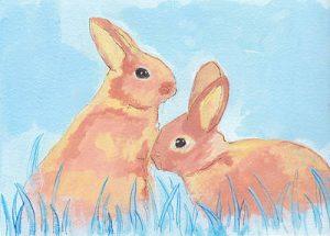 Pastel Bunnies On Blue
