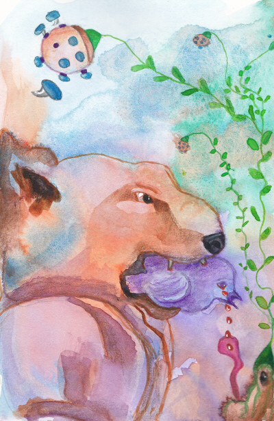 Purple Bird Fantasy Illustration