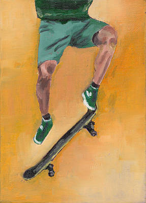 Skateboarder In Green